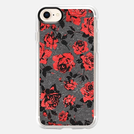 Bright Red and Rustic Black Roses- Country Flowers Pattern - Snap Case