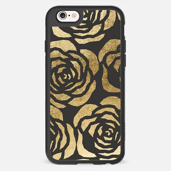 Elegant Faux Gold Flowers Pattern on Black