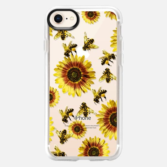 Summer Bright Yellow Sunflower Flowers and Honey Bees Pattern- Transparent - Snap Case