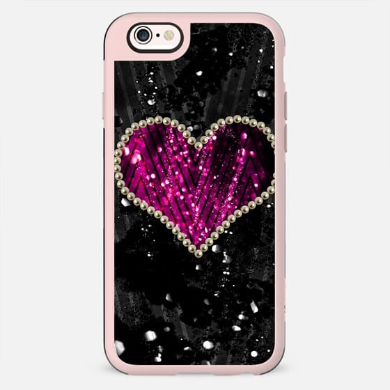 Cool Trendy Beautiful Pink and Black Pearl Heart - New Standard Case