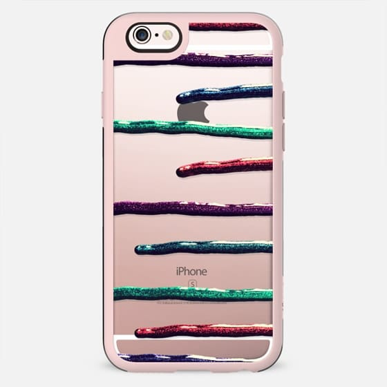 Colorful Teal, Purple, Pink, & Blue Faux Glitter Paint Drips Stripes on Transparent - New Standard Case