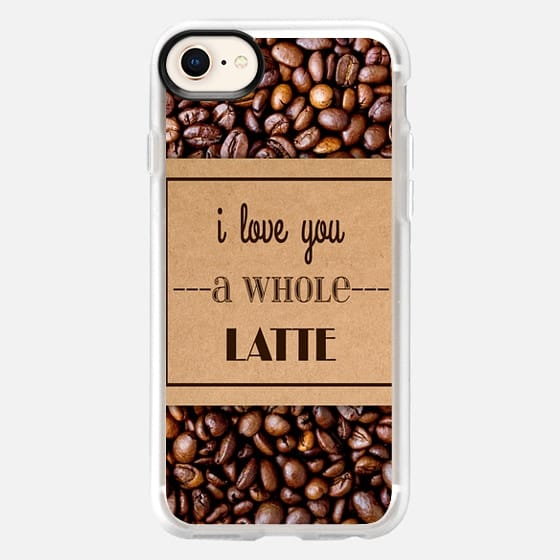 """""""I Love You a Whole Latte"""" Typography on Cardboard Coffee Cup Sleeve & Coffee Beans - Snap Case"""