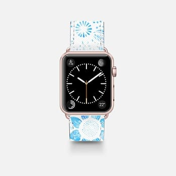 Apple Watch Band (42mm)  White Floral Lace Drawings on Cool Blue Tie Dye