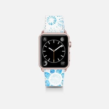 Apple Watch Band (38mm)  White Floral Lace Drawings on Cool Blue Tie Dye