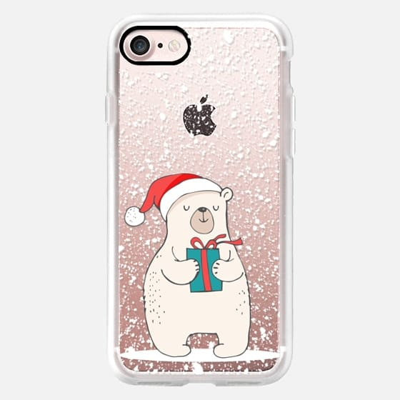 Cute Winter Polar Bear with Christmas Gift and Hat on a Blanket of Snow