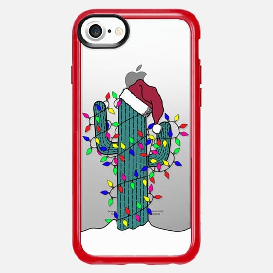 Merry Holiday Christmas Cactus and Lights on Snowy Ground - Classic Grip Case