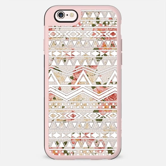 Trendy Elegant Peach Colored Floral Painting With White Tribal Aztec Pattern - New Standard Case
