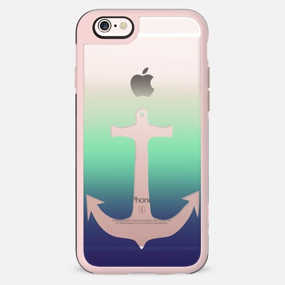 Underwater Sea Nautical Transparent Anchor on Blue and Teal Gradient - New Standard Case