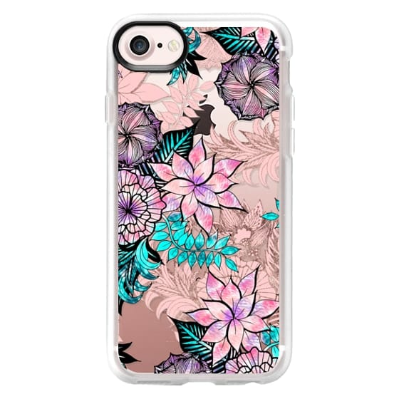 Girly Floral Illustrations Watercolor Teal Pink Rose Purple