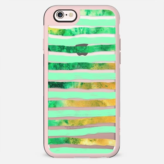 Trendy Fun Watercolor Paint Stripes in Aqua, Gold, and Green - New Standard Case