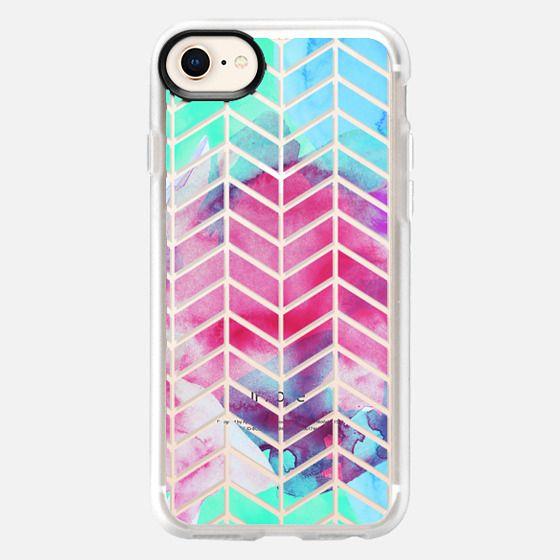 Bright Teal Green, Blue, Pink & Purple Watercolor Paint & Transparent Split Zigzag Chevron Pattern - Snap Case