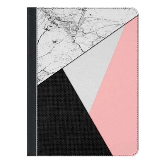 10.5-inch iPad Air (2019) Covers - White Marble with Baby Pink and Black Tri-Cut Fabric