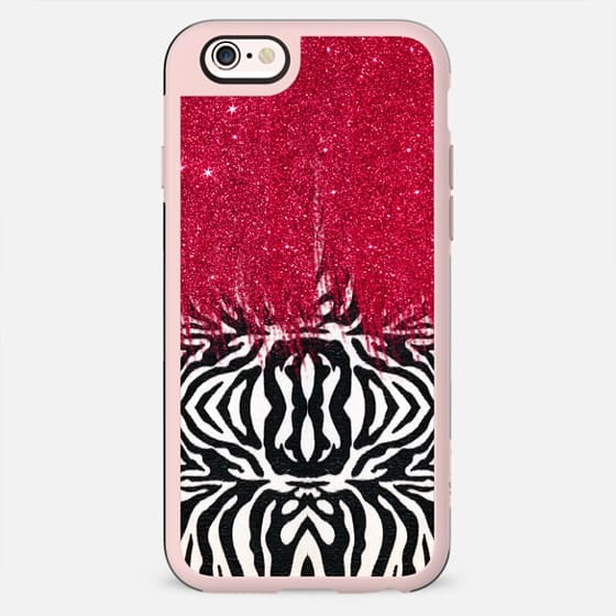Black and White Zebra Stripes with Pink Faux Glitter Brush Stroke