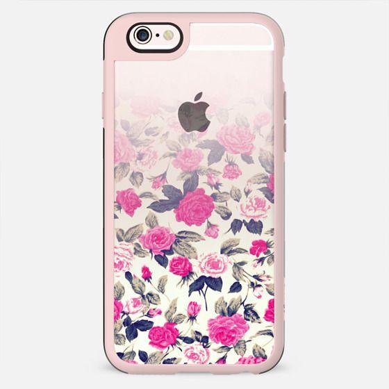 Vintage Pink Roses Flowers Pattern Gradient on Transparent Background - New Standard Case