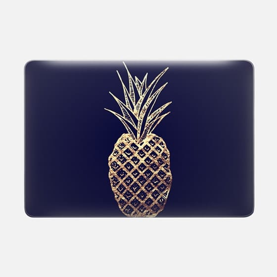 Faux Gold Leaf Fruity Summer Pineapples Pattern -