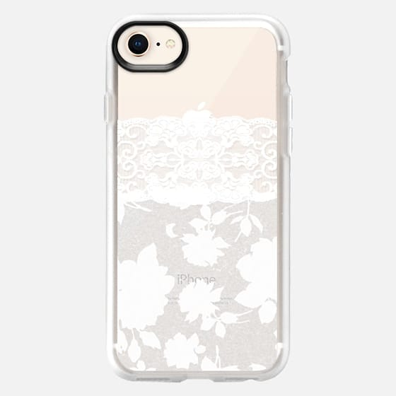 White Roses Pattern Lace Flowers Stockings on Transparent Background - Snap Case