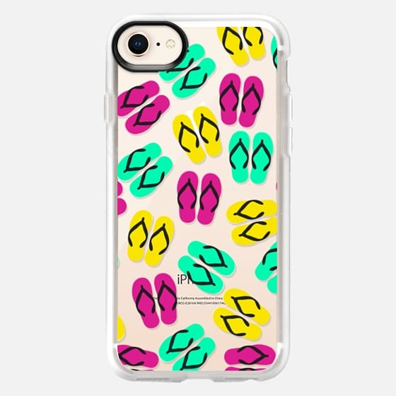 Bright Neon Yellow, Pink, and Teal Summery Flip Flops Sandals Pattern on Transparent Background - Snap Case