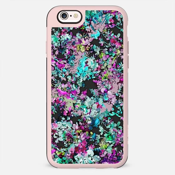 Trendy Pink, Teal, and Black Floral Collage Pattern - New Standard Case