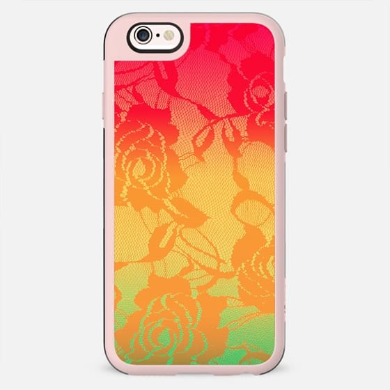 Cool Summer Color Gradient Floral Lace in Coral, Teal, and Pink - New Standard Case