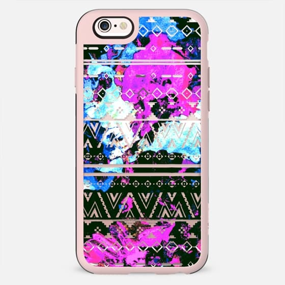 Cool Colorful Watercolor Paint Funky Aztec Tribal Pattern in Pink, Blue, and Black - New Standard Case