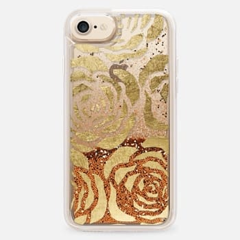 iPhone 7 Case Elegant Faux Gold Flowers Pattern- Transparent