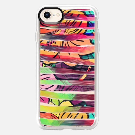 Bright Colorful Painted Brush Stripes and Painted Hawaiian Flowers  - Snap Case
