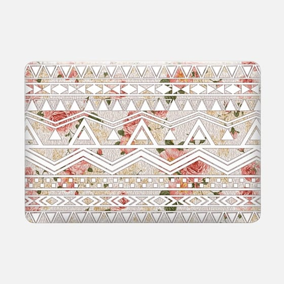 Trendy Elegant Peach & Pink Floral Painting with White Tribal Aztec Pattern -