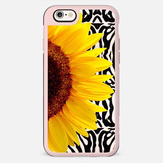 Bright Yellow Summer Sunflower on Zebra Print Stripes Pattern - New Standard Case