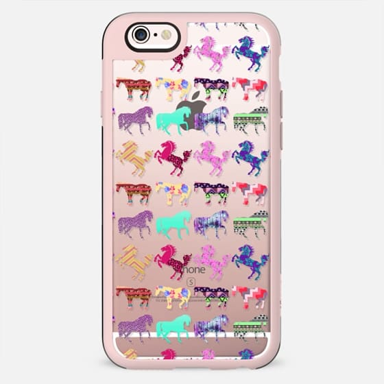 Funky Cool Trendy Pattern Horses on Transparent - New Standard Case