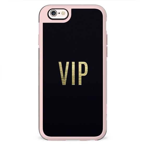 """""""VIP"""" Faux Gold Leaf Text Typography on Midnight Black"""