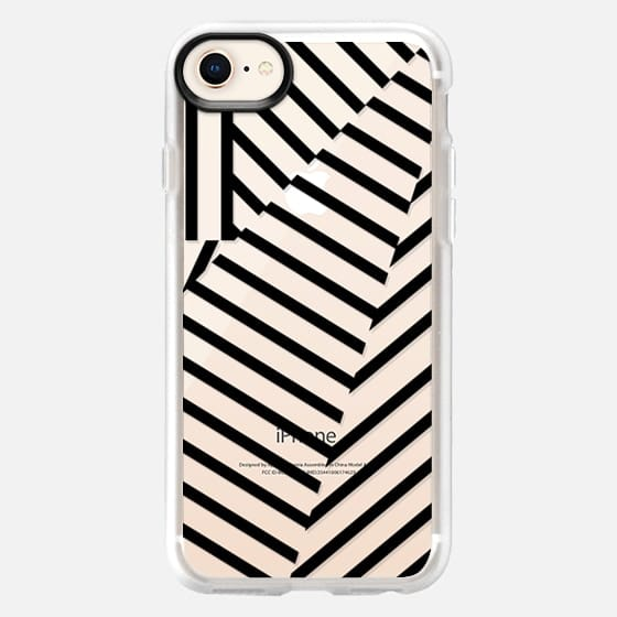Modern Black and Transparent Geometric Stripes Pattern - Snap Case