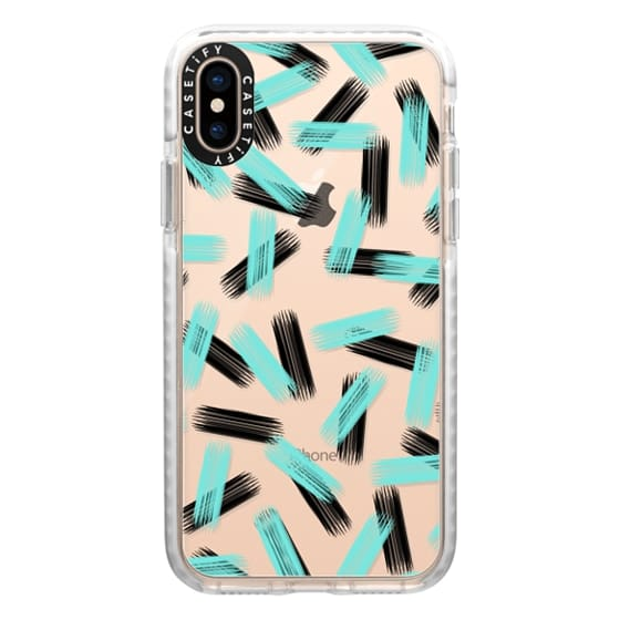 iPhone XS Cases - Modern Black & Aqua Teal Brushstroke Pattern- Transparent