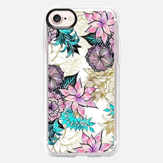 Girly Golden Floral Illustrations Watercolor Teal Pink Purple - Classic Grip Case