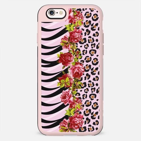 Elegant Girly Roses on Pink, Black and White Tiger Stripes with Leopard Cheetah Print