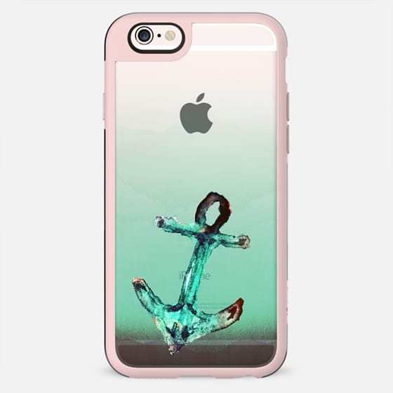 Rusty Watercolor Painted Anchor in Teal Transparent Background - New Standard Case