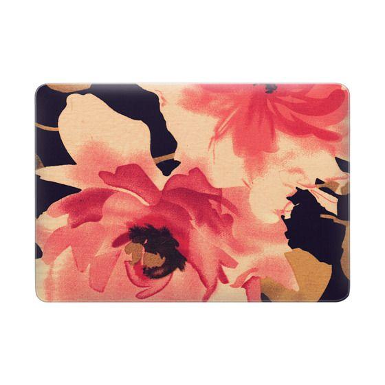 Elegant Vintage Floral Fabric Print in Pink and Black