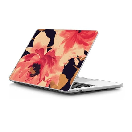 MacBook Pro Touchbar 13 Sleeves - Elegant Vintage Floral Fabric Print in Pink and Black