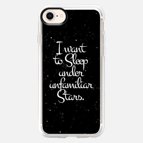 """""""I Want to Sleep Under Unfamiliar Stars."""" White Text Typography on Starry Night Sky - Snap Case"""
