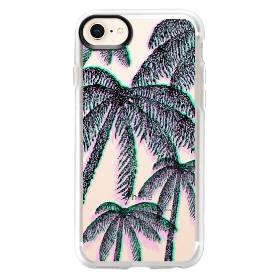 Teal Pink Black Summer Tropical Palm Trees