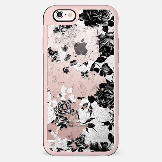 Black and White Roses Flowers Pattern in Crackling Paint on Transparent Background - New Standard Case