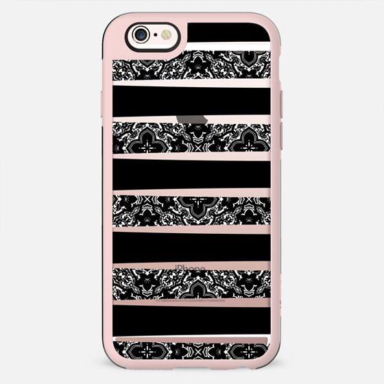 Black and White Damask Pattern Stripes on Transparent Background - New Standard Case