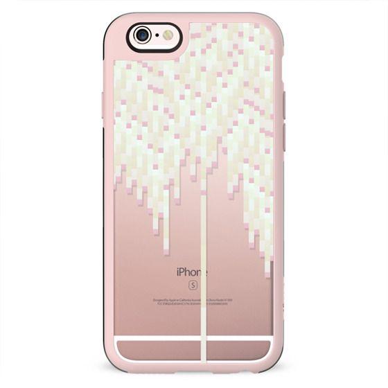 Pink & White Pastel 8bit Drips on Transparent Background