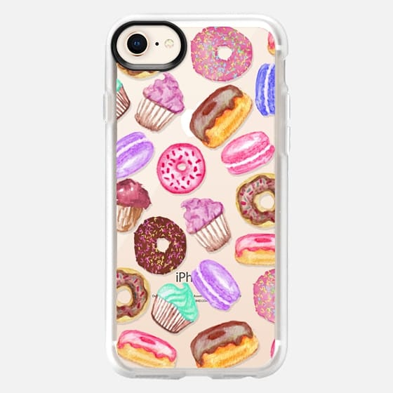 Yummy Watercolor Donuts Cookies Cupcakes and Muffin Dessert- Transparent - Snap Case