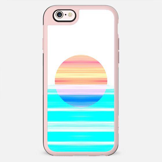 Cool Modern Brush stroke vivid teal neon pink sun set  - New Standard Case