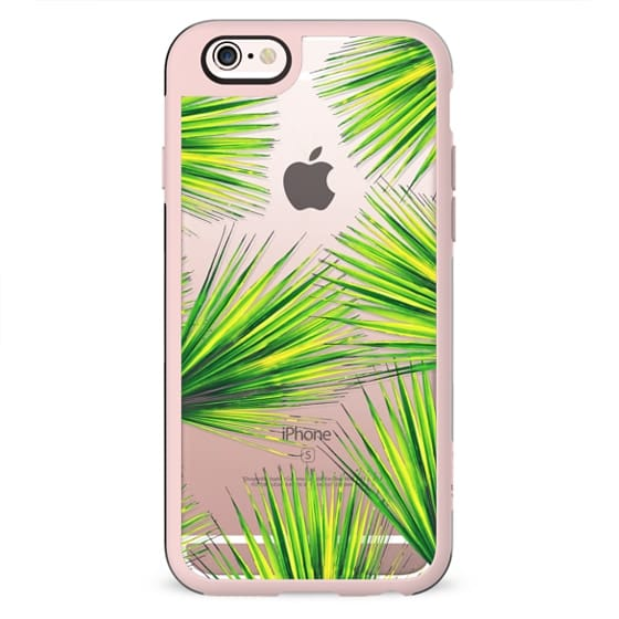 Summer Green Palm Tree Fronds on Transparent Background