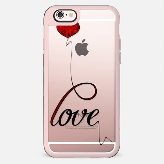 """Love"" Red Heart Balloon Script Typography on Transparent - New Standard Case"