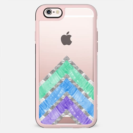 Purple, Blue, & Teal Watercolor Paint & Faux Gold Chevron Zigzag Triangles Pattern on Transparent