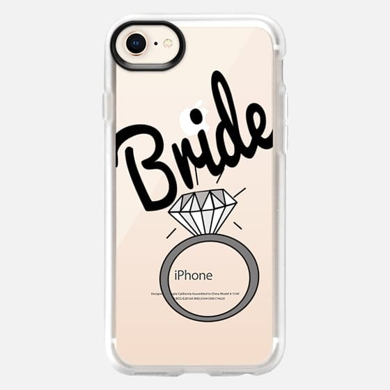 """""""Bride"""" Black Typography and Wedding Ring- Transparent - Snap Case"""
