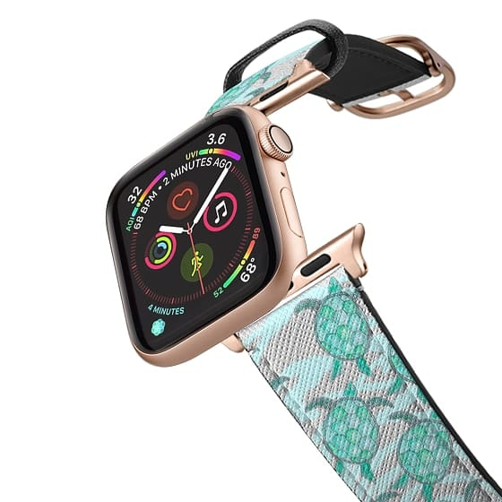 Apple Watch 38mm Bands - Summer Sea Turtles Hand Painted in Teal Watercolor on Swirly Abstract Teal and White Water