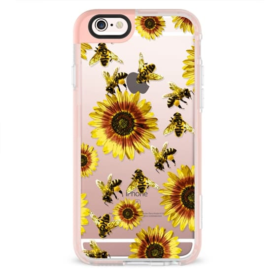 iPhone 6 Cases - Summer Bright Yellow Sunflower Flowers and Honey Bees Pattern- Transparent